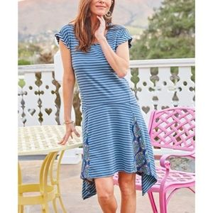 Matilda Jane Blue Striped Floral Walkout Dress